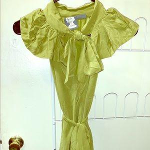 Chartreuse green silk secretary dress